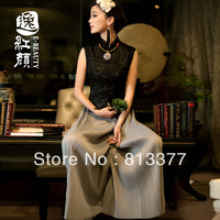 Harajuku ladies tops evening dress winter summer vintage chinese traditional style Top grade velvet silk sleeveless blouse 186