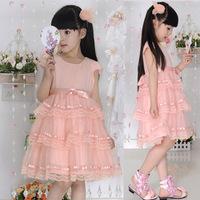 Children's clothing female child summer short-sleeve dress girls pink bubble dress tulle cake