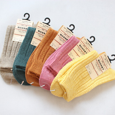 Factory Direct Selling 5PAIRS/LOT Cotton 100% Female Socks Women&#39;s Thickening Knee-high Yarn Socks High Quality Free Shipping(China (Mainland))