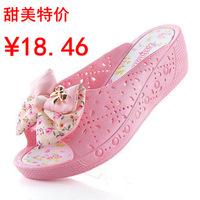 Sweet bow female wedges slippers slip-resistant platform slippers word slippers sandals