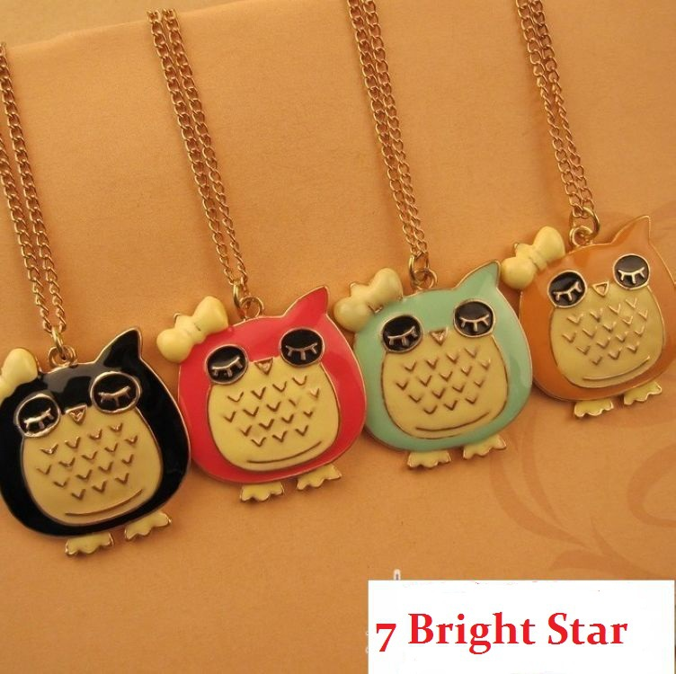 X005 clothing fashion trend of fashion owl oil necklace(China (Mainland))