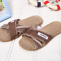 New arrival Men linen summer slippers derlook male beach slip-resistant platform linen slippers