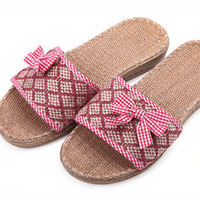 Women's linen slippers at home rhombus bow slippers Women massage slippers slip-resistant 2013