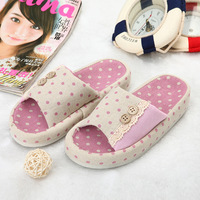 Polka dot women's slippers summer floor slippers broken laciness slip-resistant lovely home slippers