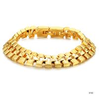 men's wedding party watch belt classic jewelry fashion 18k gold plated vintage male bracelet bangle hand chain link ks742