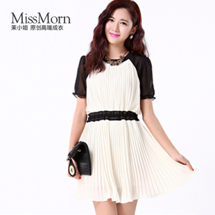 2013 summer formal ol pleated color block one-piece dress gauze puff sleeve chiffon skirt female(China (Mainland))