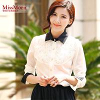 2013 summer fashion elegant formal chiffon top long-sleeve slim lace shirt female