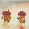 2013 New Fashion Cute Opal rabbit earrings with rhinestones wholesale for FREE SHIPPING