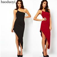 Wholesale summer new arrivals Thick single shoulder strap asymmetrical hem dress TH7929