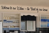 Welcome to our kitchen the heart of our home, English Quote Vinyl Wall Stikers Removable Wall Art Decals Free Shipping