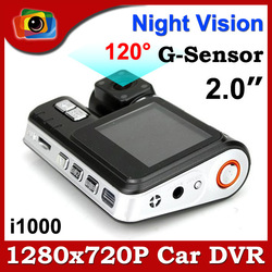 "Brand New i1000 Car DVR Camera Recorder HD 720P 30FPS G-Sensor 4 IR LED Night Vision 2.0"" TFT LCD Screen 120 Degree Wide Angle(China (Mainland))"
