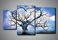 "100% handmade wall art canvas 3 Piece ""Origin of Life in Blue"" Gallery Wrapped Canvas by John Black"