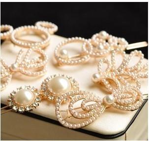 2015 hot South Korea Korean ribbon small side pearl clip barrette hair headdress female A5001