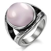 Engagement ring set, Wedding, Couples promise rings, fashion jewelry pink jade big titanium women's ring gj337 powder