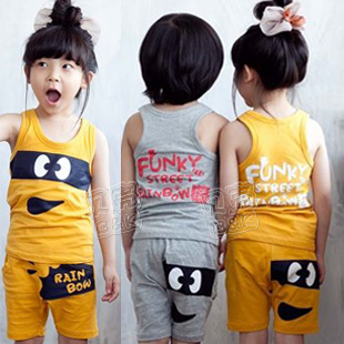 2013 summer rainbow baby boys clothing girls clothing child vest shorts set tz-0597(China (Mainland))
