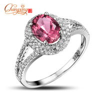 Free Shipping 14K Whie Gold Natural 1.48ct Tourmaline 0.43ct Brilliant Cut Diamond Ring Wholesale Gemstone Jewelry Hot