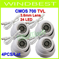 4PCS/Lot Surveillance 24 IR LED Color CMOS 700TVL 3.6mm IR Indoor Security Mini Dome CCTV Camera Free shipping Drop shipping