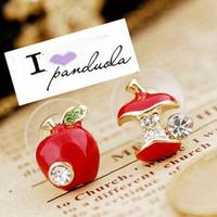 Min.order is $ 10 (mix order)  (Red\Green) Rhinestone Fine Bite Apple Earrings jewelry Wholesale !!Free Shipping