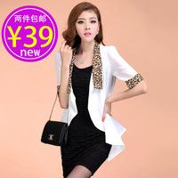 2013 chiffon short jacket female elegant slim leopard print sexy professional women half sleeve