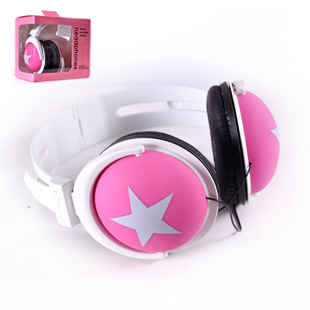 Free shipping Boxed earphones mixstyle big headset earphones five-pointed star earphones