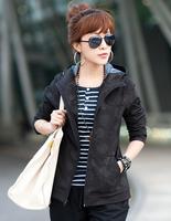 Plus size clothing 2012 autumn mm casual cardigan with a hood new arrival sweatshirt short jacket wadded jacket female