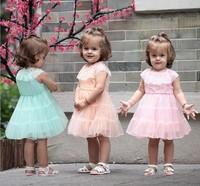 Free Shipping 4PCS/Lot New Arriva Cute Baby Dresses Pink/ Orange / Green Grenadine Baby Girl Short Sleeve Princess Dress Bulk