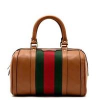 Designer Brand New Fashion Interlocking G Brown original Leather Vintage Web Boston Bag Handbag Tote 309531 Free Shipping