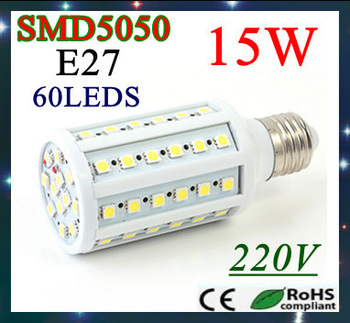 Retail and wholesale E27/ E14/B22 Energy Saving 15W  6pcs/lot  5050 SMD 60 LED Corn Bulbs Lamp Lighting 110V 220V free shipping