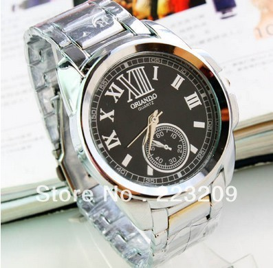 Sales promotion! Roman numerals steel band watch 100% men business gifts table free shipping(China (Mainland))