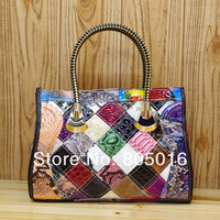 2013 New Genuine Cow Patent Leather Womens Fashion Shining Satchel Handbags Colorful Snake Print Patchwork Shoulder bag Tote