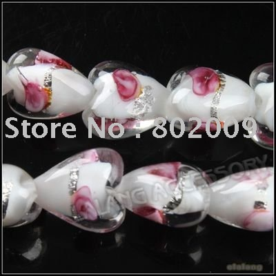 3 strings/lot Heart Murano Lampwork Glass Beads Charms Smooth Loose Bead Fit Bracelet Making Beading Craft 12x12x7mm 110735(China (Mainland))