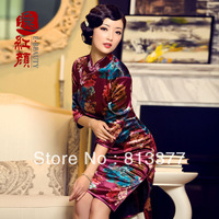 Harajuku tops evening dress winter summer vintage chinese traditional style Top grade velvet heavy silk qipao cheongsam 230