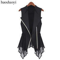 2013 New fashion Women's vest with irregular hem and zipper patchwork for freeshipping