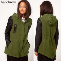 Fashion Army Green with a hood parker overcoat black PU patchwork dovetail after slim waist trench women's Dust coat