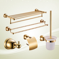 2013 Best package mail wholesale Copper bathroom five pieces set bathroom accessories luxury gold copper