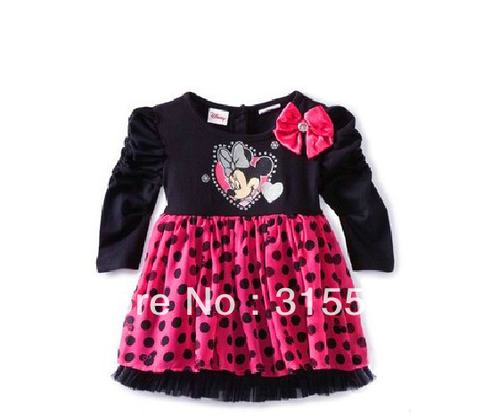 free shipping new children's dress 2013 girls Princess dresses 100% cotton long sleeve dress 5pcs/1lot minnie children clothing(China (Mainland))