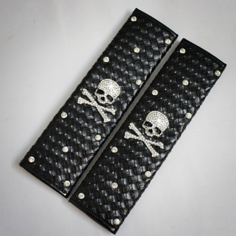 Mastermind auto supplies rhinestone skull safety seat belt shoulder pad shezthed diamond(China (Mainland))