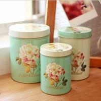 zakka Peony Round Snack Candy Cookie Jar Tin Box Food Sundries Iron Storage Box Home Decoration Gift 3pcs/set