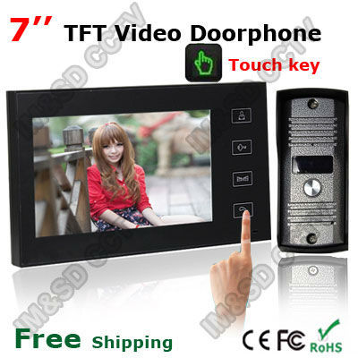 7 Inch TFT Touch Screen Color Video Door Phone Cmos Night Version Camera Intercom system 11 Door Bell Rings(China (Mainland))