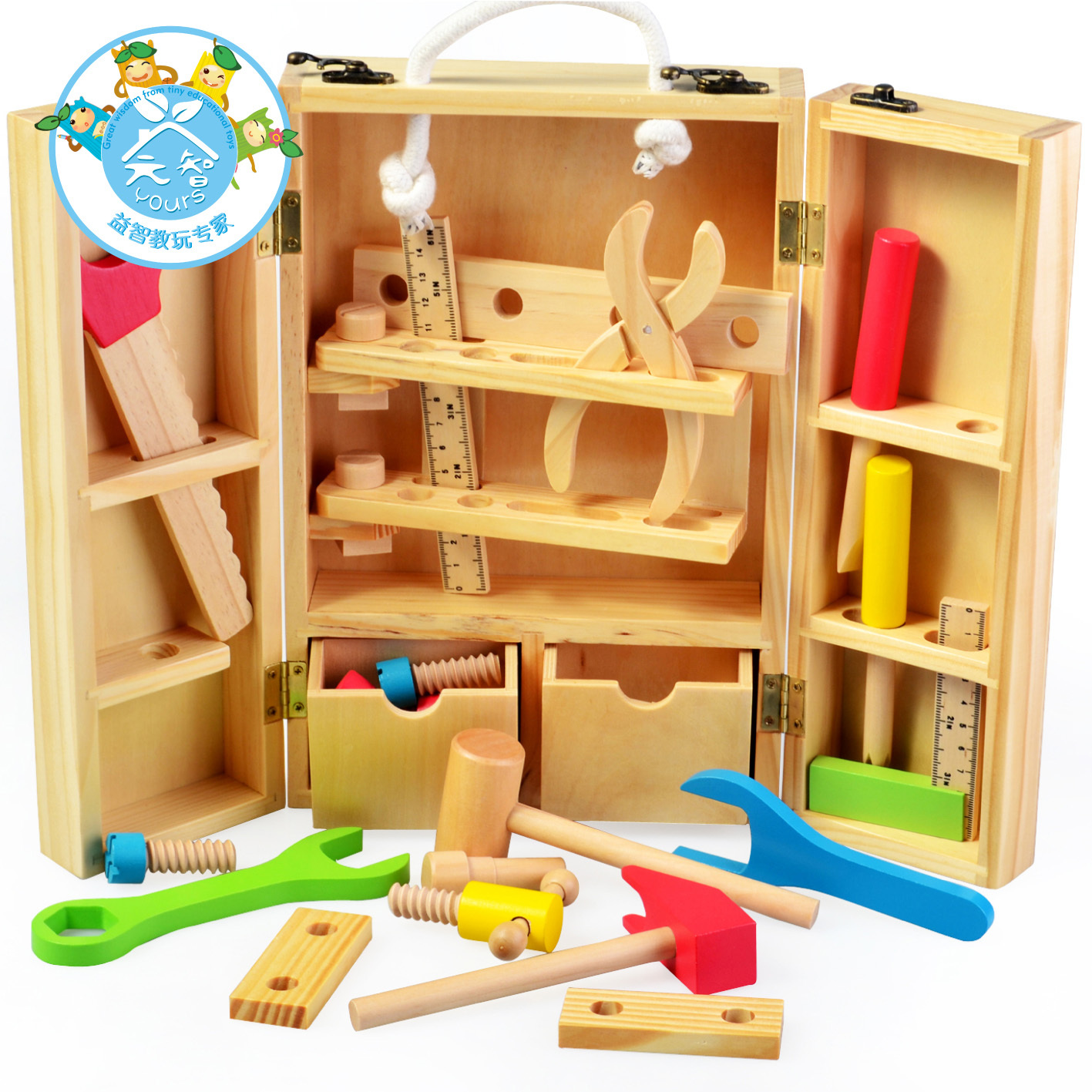 Wooden portable tool box boys puzzle nut removable toy(China (Mainland))