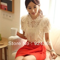 Tops 2013 Korean Fashion Elegant Summer Shirt Women White Ruffle And Beading Short Sleeve Lace Blouse For Women Free Shipping