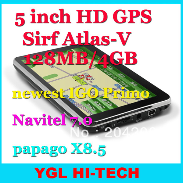 5 Inch HD800*480 GPS Navigation Sirf Atlas-V+SD-RAM128MB Flash 4GB+Newest IGO Primo 3D Navitel7.0 for Russia,Ukraine,Belarus(China (Mainland))