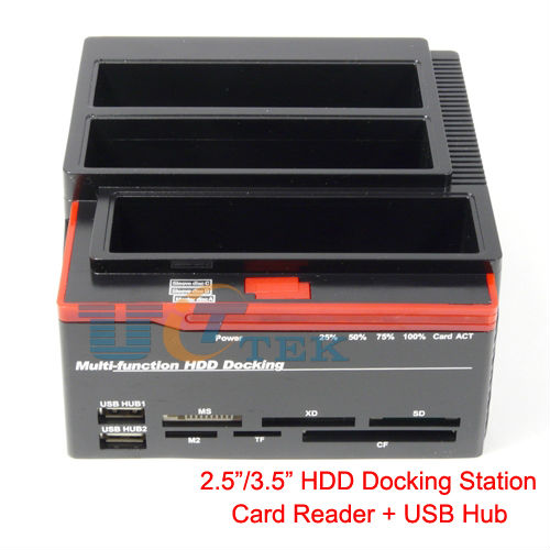 2.5&quot;/3.5&quot; SATA HDD Docking Station USB2.0 3Bay SATA HDD Offline Cloning Card Reader USB HUB Singapore Post(China (Mainland))