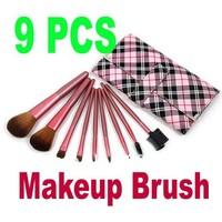 Free Shipping+Drop Shipping Newest Makeup Brush 9 PCS Set Cosmetic Make up Brush Set Tool Kit + Leather Case