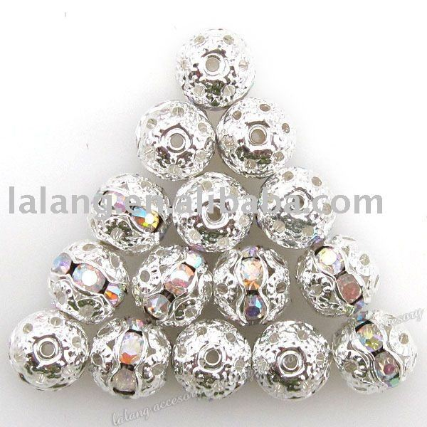 60x Round Fantastic Silver Plated Copper and Colorful Rhinestones Beads 8mm 110237(China (Mainland))