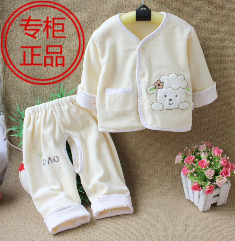Baby clothes baby open files set velvet newborn children cardigan(China (Mainland))