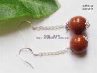 Natural golden sand beads drop earring 925 silver drop earring anti-allergic