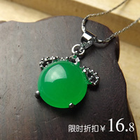 Beautiful malay jade drop pendant silver inlay jade pendant vintage national trend greenstick pendant jade pendant