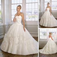 High-Waist-Applique-Floral-Sweep-Train-White-Organza-Wedding-Dress-Ball-Gown