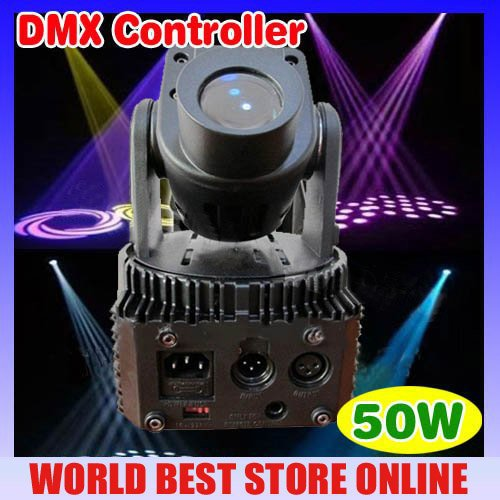 Free shipping Power 50W multi-color change DMX controller LED Mini moving head spot light(15W) STAGE LIGHTING(China (Mainland))